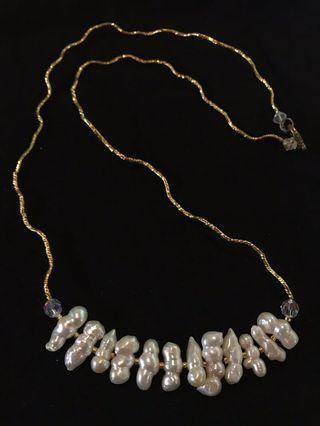 SALE!! Long Gold and Pearl Necklace