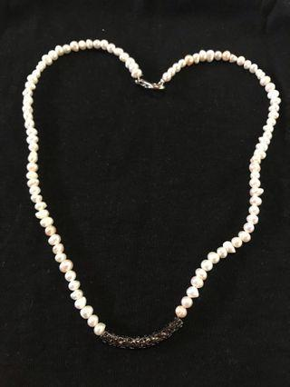 SALE!! Pearl Necklace with Silver Plate