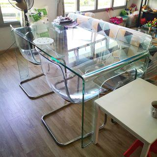 Full tempered glass dining table with 4x IKEA Tobias chairs