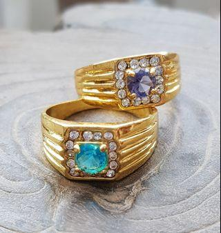 🚚 BN Men's Gold-plated Blue or Purple Solitaire Halo Rings