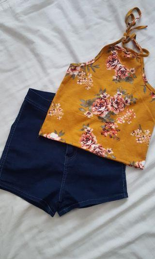 Top( new w/ tag)  & Shorts (used twice) for 380 php