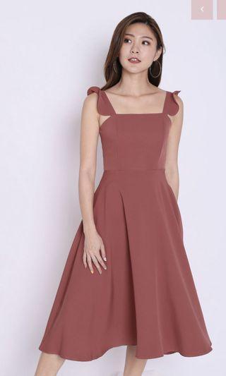 Ebele Ruffle Strap Midi Dress Coral