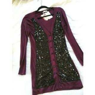 Alannah Hill Cardigan Size 10 • 'Listen To Meeee!' cardi in plum/black [FREE SHIPPING]