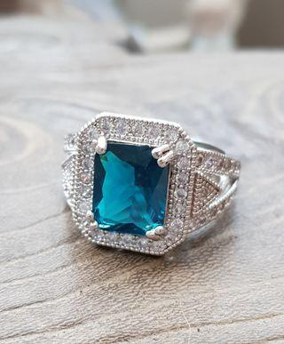 BN Classic Princess-cut Prussian Blue Solitaire Square Halo Ring with CZ details #ENDGAMEyourEXCESS