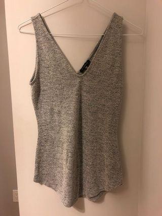 Dynamite Heather Grey V-Neck Top (Size XS)