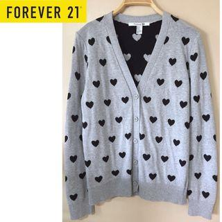 ✨F21 GREY HEART V-NECK BUTTON FRONT CARDIGAN SWEATER, FOREVER 21 MADE IN KOREA, Size M Fits Size M/L, UK 10/12