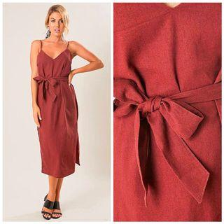 ALLY FASHION LINEN MIDI DRESS SIZE MEDIUM BNWT