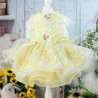 [Pre-Order] Fashion Dog Cat Dress Clothing Lace Printed Pet Clothes High Quality Wedding Dress