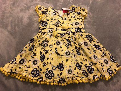 BRAND NEW Girls 3-8 Yellow/Navy Floral Printed Dress