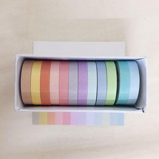 🚚 12 colour plain washi tape
