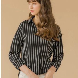 Oversized Black Long Sleeve Collared Shirt
