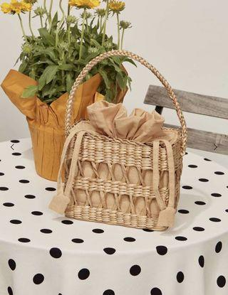 Reformation Open Weave Box Basket Straw Bag