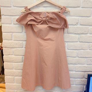 🚚 全新平口露肩蝴蝶結乾燥玫瑰色洋裝 S號