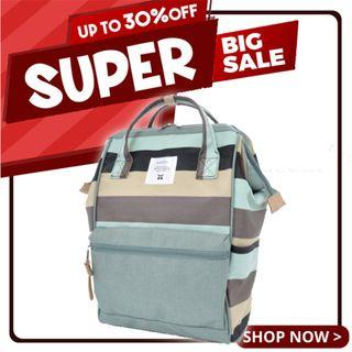 Ready Stock Sales! | Anello Limited Edition Multi-Border Polyester Backpack - B (Blue/Beige/Gray) | 100% Authentic!