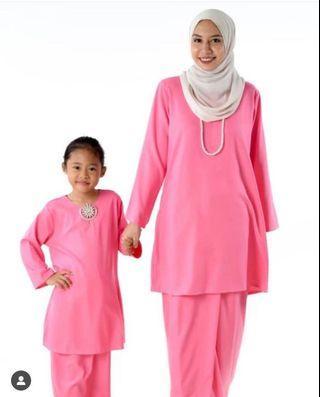 Baju Kurung Pahang (mom & kids) -Pink