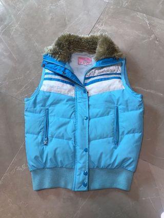 Mezzo Piano size 160 兒童大碼 成人細碼 adult small size 粉藍色毛領白蕾絲波點甜美可愛背心外套 baby blue furry collar cutie sweet dot & white lace vest jacket