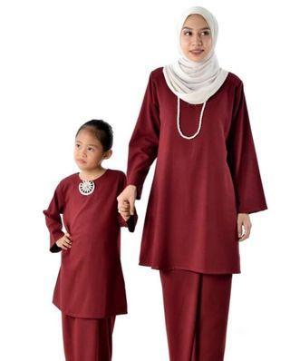 Baju Kurung Pahang Moden (mom & kids) - Maroon
