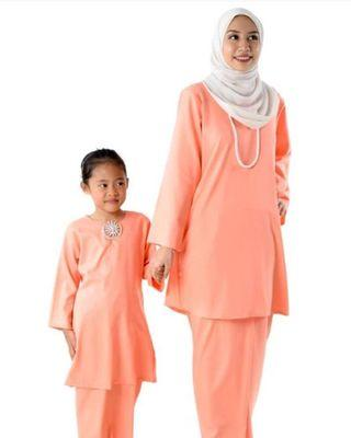 Baju Kurung Pahang (Mom & Kids) -Peach