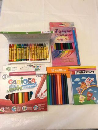 蠟筆、油粉彩、木顏色、可水洗顏色筆