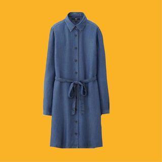 Uniqlo Denim Button Long Sleeve Dress