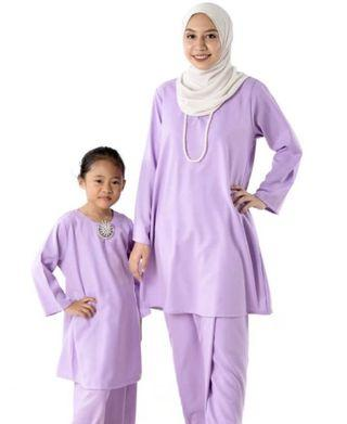 Baju Kurung Pahang Moden (mom & kids) - Light Purple