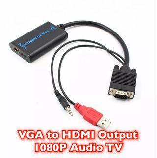 VGA To HDMI Output 1080P HD Audio TV AV HDTV Video Cable Converter Adapter
