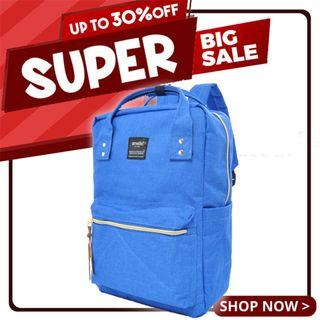 Ready Stock Sales! | Anello Polyester Canvas Square Backpack (Blue) | 100% Authentic