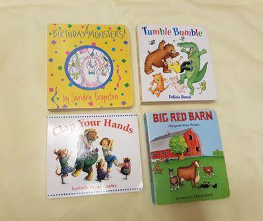 🚚 4 Children Board Books - Big Red Barn, Birthday Monsters, Tumble Bumble, Clap Your Hands