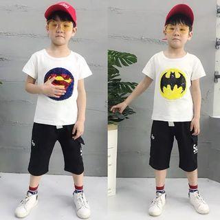 🚚 春夏新款 韓版翻轉亮片蝙蝠俠/超人 短T/短袖上衣