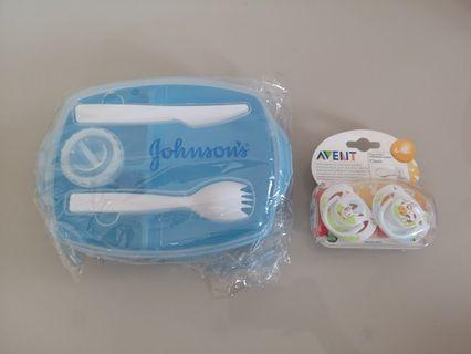 Avent Pacifier duo +Johnsons container set