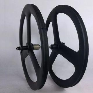 Full carbon fiber tri spokes road bicycle disc brake wheel set
