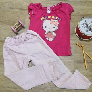 18M to 24M Set of Pink Hello Kitty Blouse with Pastel Pink Jeans