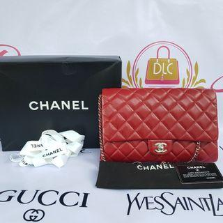 Authentic Chanel Jumbo Clutch Burgundy Red