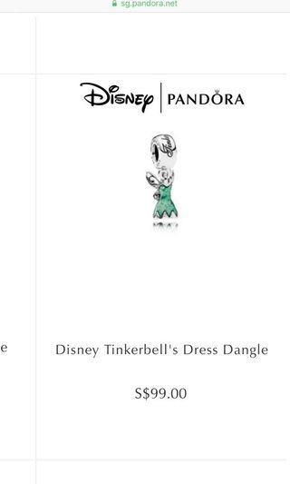 disney pandora charm tinkerbell dress dangle