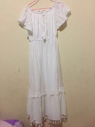 Sabrina Tassel White Dress