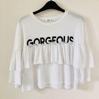 Mango MNG white ruffle GeOrGeOuS shirt blouse uS XS