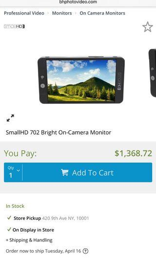 95%new smallhd 702 bright on-camera monitor