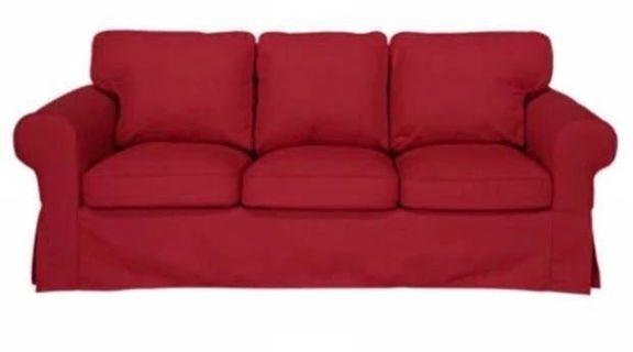 Ikea Ektorp 3 seater sofa cover in deep red - only cover