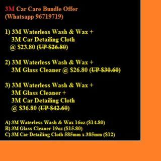1) 3M Waterless Wash & Wax + 3M Car Detailing Cloth @ $23.80 (UP $26.80) 2) 3M Waterless Wash & Wax + 3M Glass Cleaner @ $26.80 (UP $30.60) 3) 3M Waterless Wash & Wax + 3M Glass Cleaner + 3M Car Detailing Cloth @ $36.80 (UP $42.60)