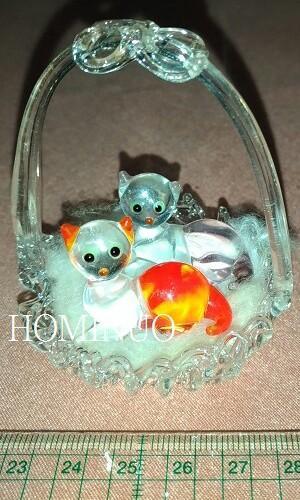 🚚 琉璃2隻貓提籃擺飾