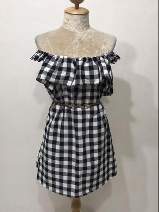 🚚 Checkered Off Shoulder Dress