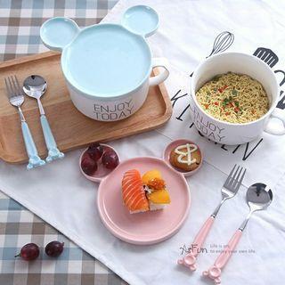 全新轉售Asfun【藍色款碗盤蓋僅一組】迪士尼米奇造型陶瓷碗盤蓋(不含湯匙叉組)