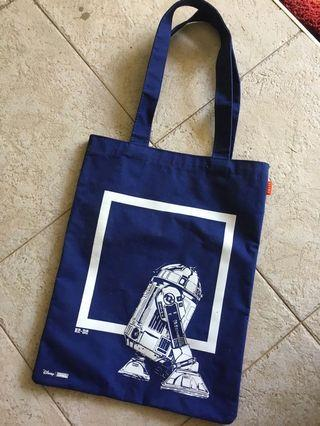 Star Wars two sided R2D2 and C3PO navy blue tote bag.