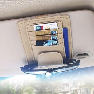 Car visor card and sunglasses holder