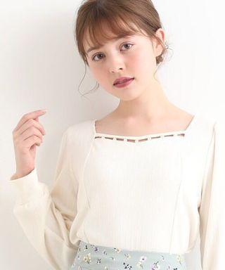日系💋珠珠領鏤空Tee恤上衣 Japan fashion pearl embellishments see through tee shirt top