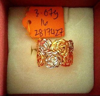 916 gold rose design ring 2 colors