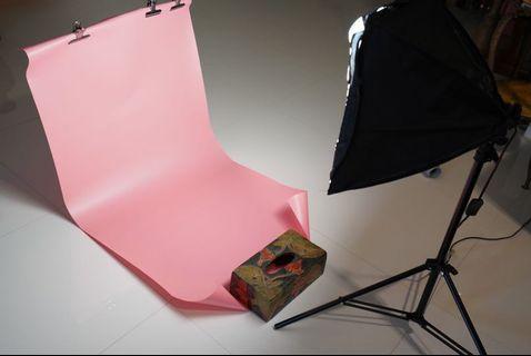 Small Studio Backdrop - Pink Grey Black Studio Background