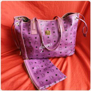 🛑MCM Visetos Purple Project Reversible Tote Mm Bag