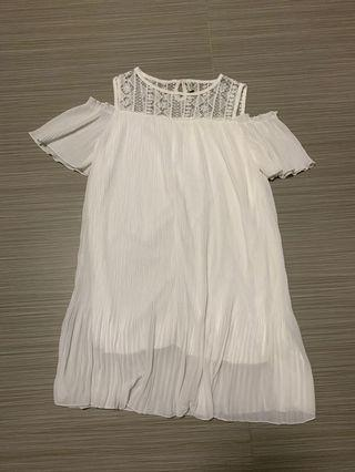 PENDING White cold shoulder pleated dress