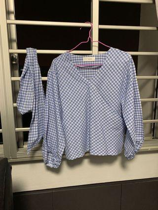 PENDING Overlap babydoll top in checkered